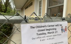 A sign announcing the closure of the ASI Children's Center on Monday, March 16. The center will be closed Tuesday, March 17 and will remain closed indefinitely.