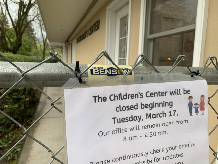 A+sign+announcing+the+closure+of+the+ASI+Children%27s+Center+on+Monday%2C+March+16.+The+center+will+be+closed+Tuesday%2C+March+17+and+will+remain+closed+indefinitely.+