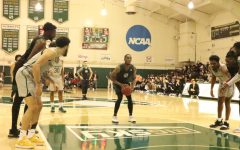 Senior forward Chibueze Jacobs attempts a free throw against Portland State at the Nest on Thursday, Jan. 24. The Hornets dropped their final regular season game on the road to the Vikings 76-72.