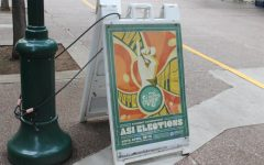 Ad for Sac State's Associated Students Inc. elections coming up on April 15 and 16 outside of the University Union.