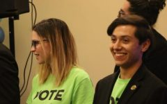 Jennifer Gross and Christian Miguel Landaverde after hearing the results of the Associated Students, Inc. elections on April 10, 2019, at the elections party. On Friday March 13, 2020 ASI announced that both Landaverde and Gross had resigned effective immediately citing personal reasons.