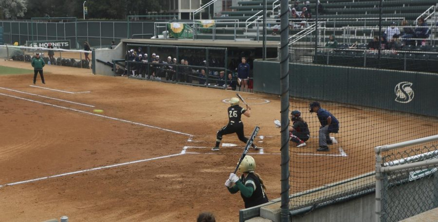 Junior infielder Mo Spieth hits her fourth home run of the season during the Capital Classic Tournament on Sunday, March 1 at Shea Stadium. The Hornets took home two wins during the tournament over the weekend.