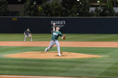 Sac State junior righty Scott Randall throws a pitch against UC Irvine on Saturday, March 7 at the Bren Events Center. The Anteaters won the first two games, leading to a series win over the Hornets.