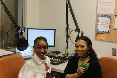 "Felicity Scott hosts her radio show ""Behind the Butterfly"" with guest Celestial Thomas on March 13, 2020. Scott is the vice president of the Student Fashion Association and said she has always known she wanted to be involved in fashion."