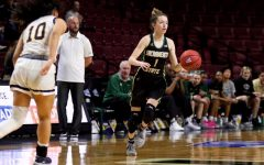 Sac State sophomore point guard Milee Enger dribbles the ball up court against Northern Colorado on Monday, March 9 at CenturyLink Arena. The Hornets' season came to an end with a 79-61 loss to the Bears.