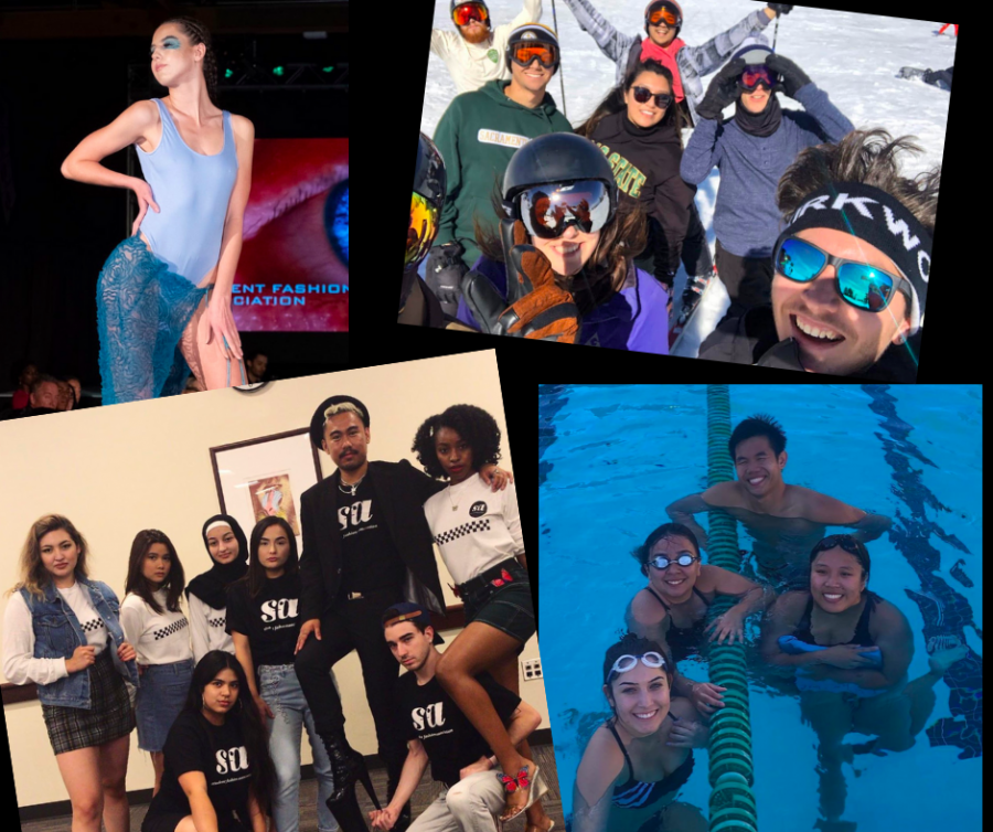 Members of Sac State's Student Fashion Association, Swim and Ski and Snowboard club. The clubs have effectively scrapped all future meetings due to campus closures but remain optimistic of their club's future. Courtesy of each club's respective representatives. Collage by Khala Clarke