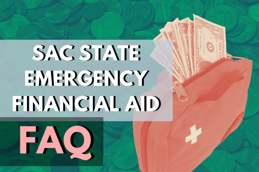 Sacramento State President Robert Nelsen announced emergency financial aid grants from the CARES Act will be disbursed to any student eligible for FAFSA at a virtual faculty town hall Monday, April 27. Graphic made in Canva.