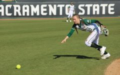 Sac State sophomore shortstop Shea Graves runs for a ball against California Baptist at Shea Stadium on Friday, Feb. 7. Graves ranks among the top five in the Big Sky for batting average and hits.
