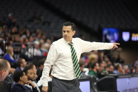 Sac State head coach Brian Katz instructs one of his players to enter the game against UC Davis at Golden 1 Center on Wednesday, Nov. 20, 2019. Katz recently signed a multi-year extension with the Hornets.
