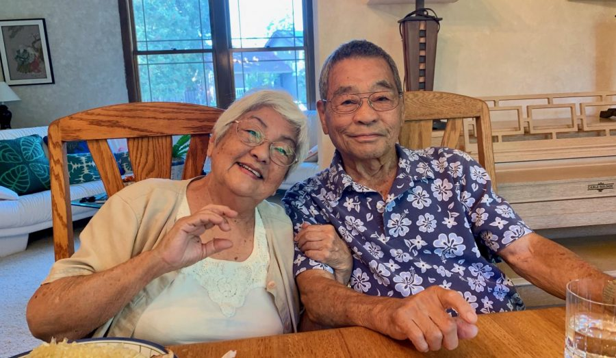 Robyn's grandparents at the dinner table in 2019 celebrating Robyn's grandma's birthday. Photo courtesy of Robyn Dobson
