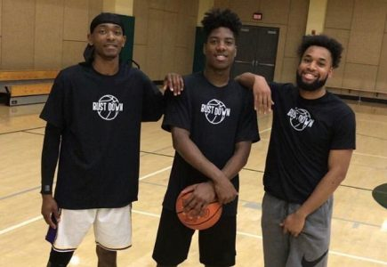 Oku Best-Wilson, Ben Smith, and Presley Ehezue (left to right) pose for a photo. The three friends met playing intramural basketball at The WELL.
