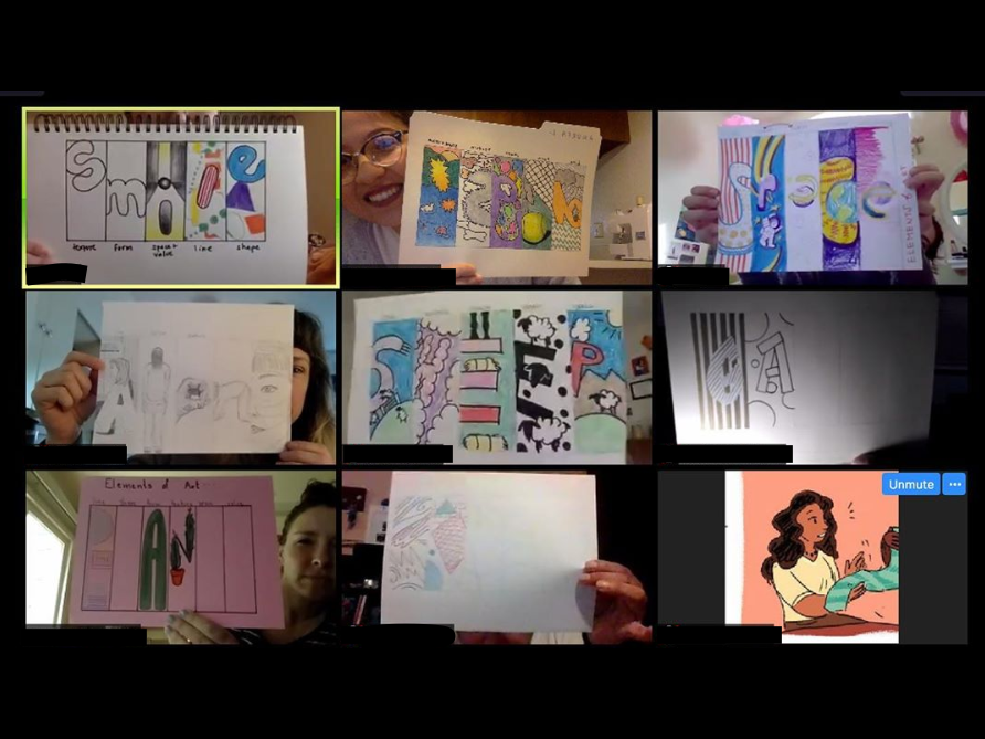 Participants showcase the results of  the Sacramento State Chapter of the National Art Education Association's first virtual art-make activity via Zoom on March 27. The club will hold Zoom meetings every Friday for the rest of the semester. Photo courtesy of Theresa Nguyen.