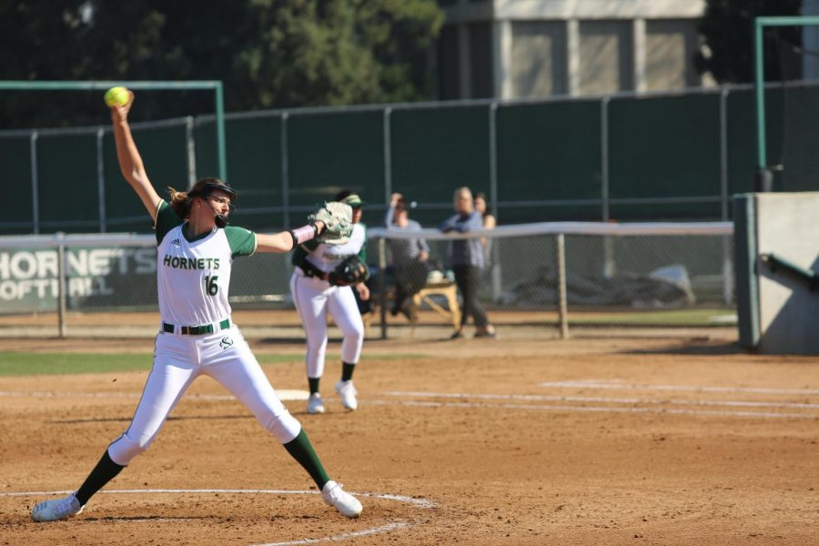 Sac State senior pitcher Jensen Main throws a pitch against California Baptist at Shea Stadium on Friday, Feb. 7. Main ranked fifth in strikeouts in the Big Sky with 38 Ks.