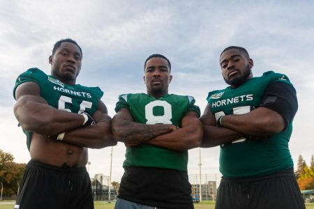 From left to right, Sac State senior football players, defensive lineman George Obinna, defensive back Caelan Barnes and defensive lineman Dariyn Choates pose for a photo after practice. Obinna signed with the Cleveland Browns as a free agent Saturday after going undrafted in the 2020 NFL Draft.