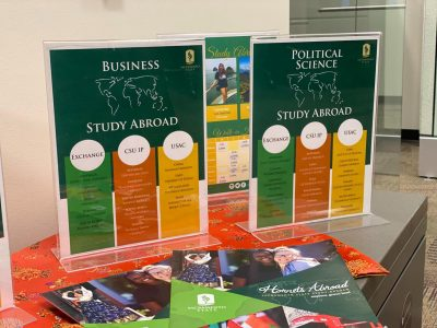 Study abroad material at Sac State's Office of Global Engagement. Sac State emailed study abroad students that fall 2020 study abroad programs are suspended.