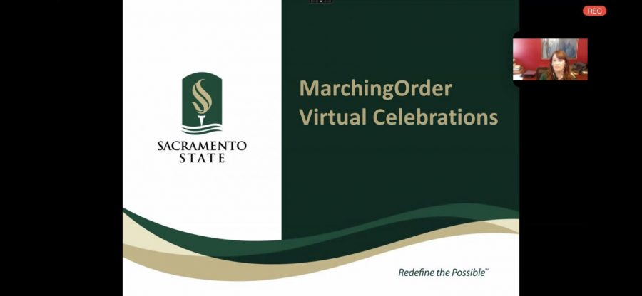Cely Smart, Sac State's chief of staff for the president's office, gives a presentation on virtual commencement at an ASI board meeting via Zoom Wednesday. Virtual commencement was announced Thursday.