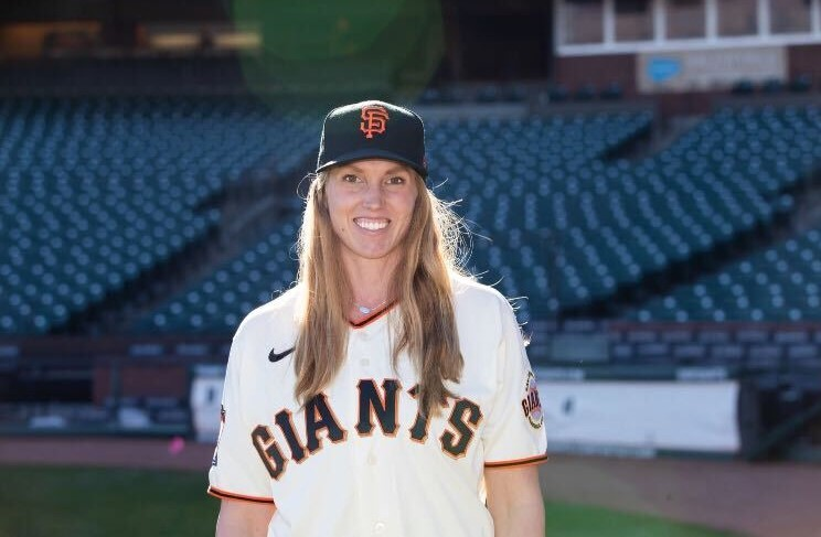 Sac State alumna Alyssa Nakken poses for a photo at Oracle Park. Nakken made history when she was named as the first female MLB coach.