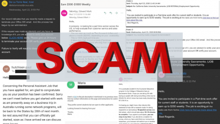 Collage of phishing scam emails sent to Sac State students. Sac State Information Resources & Technology warned students of a spike in phishing attempts in a SacSend email sent on April 24.