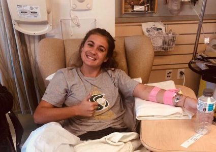Sac State soccer player Christina Lazar poses at Kaiser Hospital in Roseville. Lazar was diagnosed with a rare blood disease and had to heal from a torn ACL before she could return to playing for Sac State