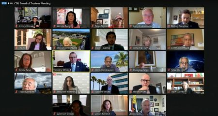 The CSU Board of Trustees meets virtually on Zoom Tuesday, May 12, 2020. CSU Chancellor Tim White announced that classes will be primarily virtual with some exceptions for in-person activities that cannot be done virtually.