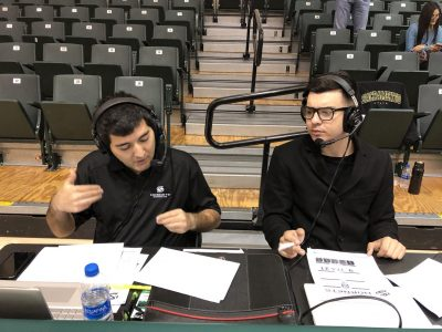 Former KSSU Sports Director Anthony Rifenburg (left) and Keith Jouganatos broadcast a men