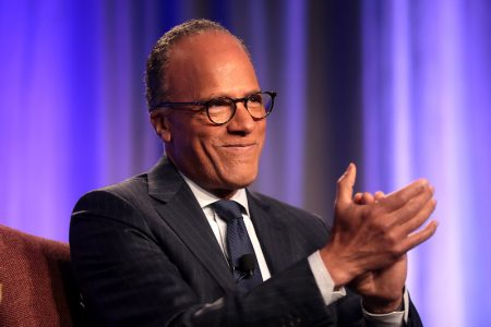 Lester Holt, a Sac State alumnus, claps during the 36th annual Cronkite Award Luncheon on November 4, 2019. Holt spoke with The State Hornet about his journalism career and the COVID-19 pandemic.