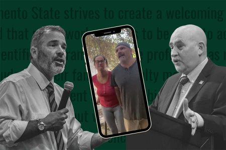 Provost Steve Perez and Sac State President Robert Nelsen will serve as panelists along with vice president for inclusive excellence Diana Tate Vermeire at a virtual town hall on May 19, 2020, in response to a viral video where a Sac State professor's wife used a racial slur. Screenshot via Facebook. Photos by Rahul Lal and Joseph Daniels. Graphic made in Canva.