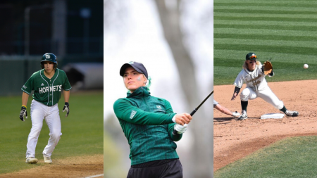 Sac State student-athletes Michael Birch, Sofie Babic and Ryan Walstad. After the cancellation of their seasons, all three senior athletes were left with unknowns about their future. Photos of Birch and Babic courtesy of Hornet Athletics.