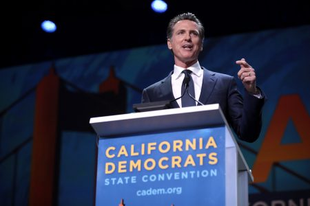 California Governor Gavin Newsom speaks at the California Democrats State Convention in San Francisco, CA on June 1, 2019.