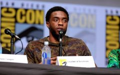 Black Panther actor Chadwick Boseman speaks at the 2017 Comic-Con international at the San Diego Convention Center on July 22, 2017. Chadwick Boseman by Gage Skidmore is licensed under CC BY-SA 2.0