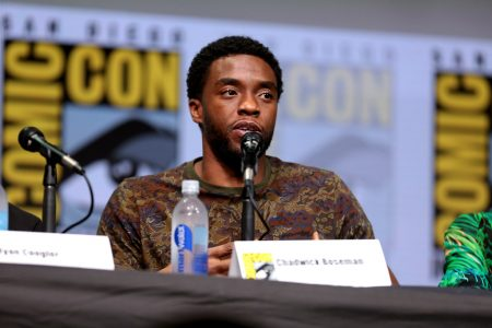 """Black Panther"" actor Chadwick Boseman speaks at the 2017 Comic-Con international at the San Diego Convention Center on July 22, 2017. ""Chadwick Boseman"" by Gage Skidmore is licensed under CC BY-SA 2.0"