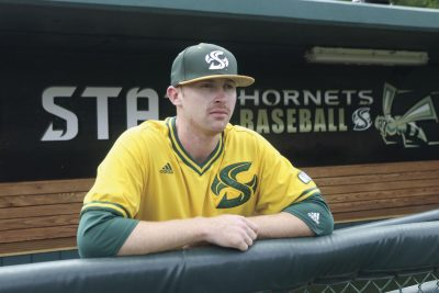 Sac State baseball pitcher Tyler Beardsley after the  team's game against Utah Valley on Sunday, May 8, 2016 at John Smith Field in Sacramento, CA.