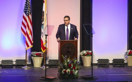 Fresno State President Dr. Joseph I. Castro speaks during the fifth annual State of the University breakfast at the Save Mart Center on Feb. 11, 2020. Castro was announced as the new CSU Chancellor Wednesday morning. Photo courtesy of the Fresno State Collegian.