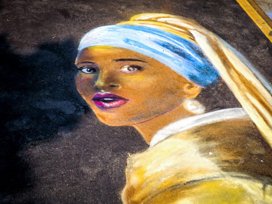 A modern take on a classic painting with  Lupita Nyong'o as