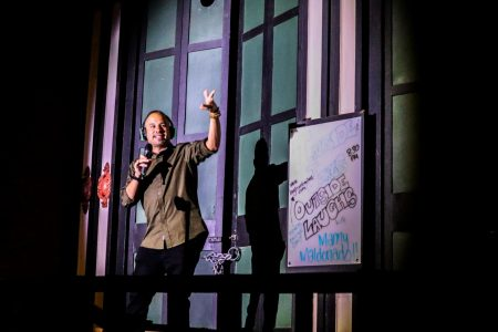 Headlining comedian Manny Maldonado performs from the outdoor stage on the boardwalk outside Laughs Unlimited in Old Sacramento Friday, Sept. 18, 2020. Maldonado said he drove seven hours from Los Angeles to perform in front of the small crowd but was happy to do it saying