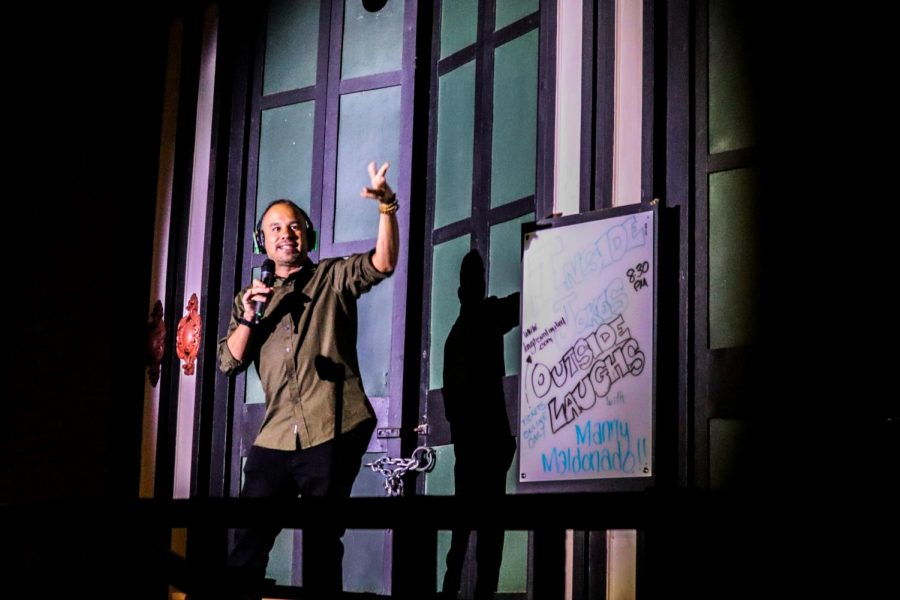 Headlining+comedian+Manny+Maldonado+performs+from+the+outdoor+stage+on+the+boardwalk+outside+Laughs+Unlimited+in+Old+Sacramento+Friday%2C+Sept.+18%2C+2020.+Maldonado+said+he+drove+seven+hours+from+Los+Angeles+to+perform+in+front+of+the+small+crowd+but+was+happy+to+do+it+saying+%22Laughter+is+essential.%22+
