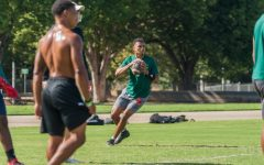 Sacramento State quarterback Kaiden Bennett winds up for a pass during drills at the practice field behind Hornet Stadium on Thursday, Sept. 24th, 2020. Bennett, who played at Folsom High School, transferred to Sac State to play for the Hornets.