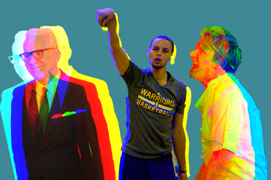 Steph Curry photo by by Rus.K is licensed under CC BY-NC-ND 2.0, Steve Martin photo by ellasportfolio is licensed under CC BY-SA 2.0, Gordon Ramsay photo by gordonramsaysubmissions is licensed under CC BY 2.0. Graphic made in Canva by Max Connor.