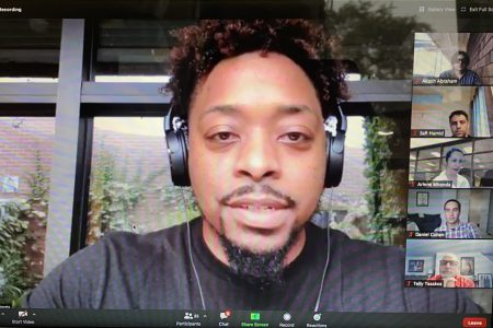 Donte Morris speaks to a virtual audience about him and his twin brother