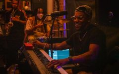 BAOBAB pianist Kenan Jackson plays the keyboard at the Sacramento apartment-turned-studio, Taylor'd Mind Studios, for Open Mind Night on Oct. 22nd, 2020. BAOBAB is a local Black American music group made up of six members.