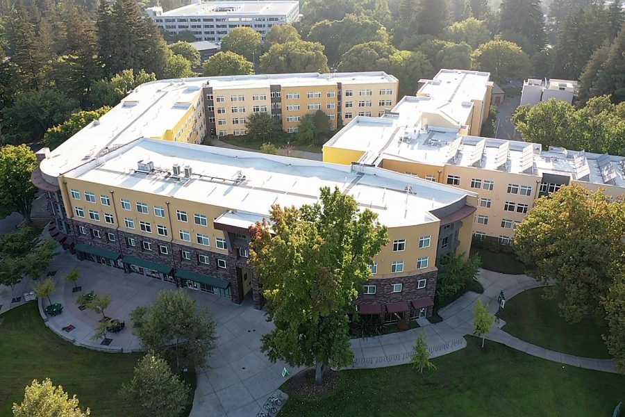 The American River Courtyard from above at Sacramento State Wednesday, Oct. 7, 2020. Eight Sac State students were quarantined in the American River Courtyard residence hall in the first month of the semester, according to Sac State Student Affairs officials.