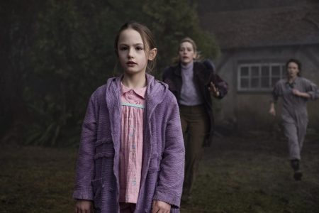 "Amelie Bea Smith as Flora, Victoria Pedretti as Dani and Amelia Eve as Jamie in ""The Haunting of Bly Manor."" Eike Schroter/Netflix"