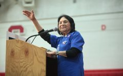 Labor leader and civil rights activist Dolores Huerta speaks during a campaign rally with former President Bill Clinton on March 20, 2016 at Central High School in Phoenix, Arizona. Huerta spoke on voting, the national census and anti-racism at a virtual event hosted by Sacramento State's Serna Center Friday.