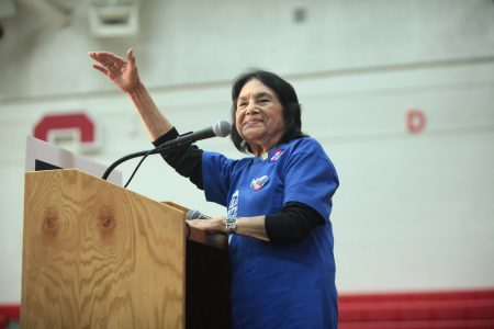 Labor leader and civil rights activist Dolores Huerta speaks during a campaign rally with former President Bill Clinton on March 20, 2016 at Central High School in Phoenix, Arizona. Huerta spoke on voting, the national census and anti-racism at a virtual event hosted by Sacramento State