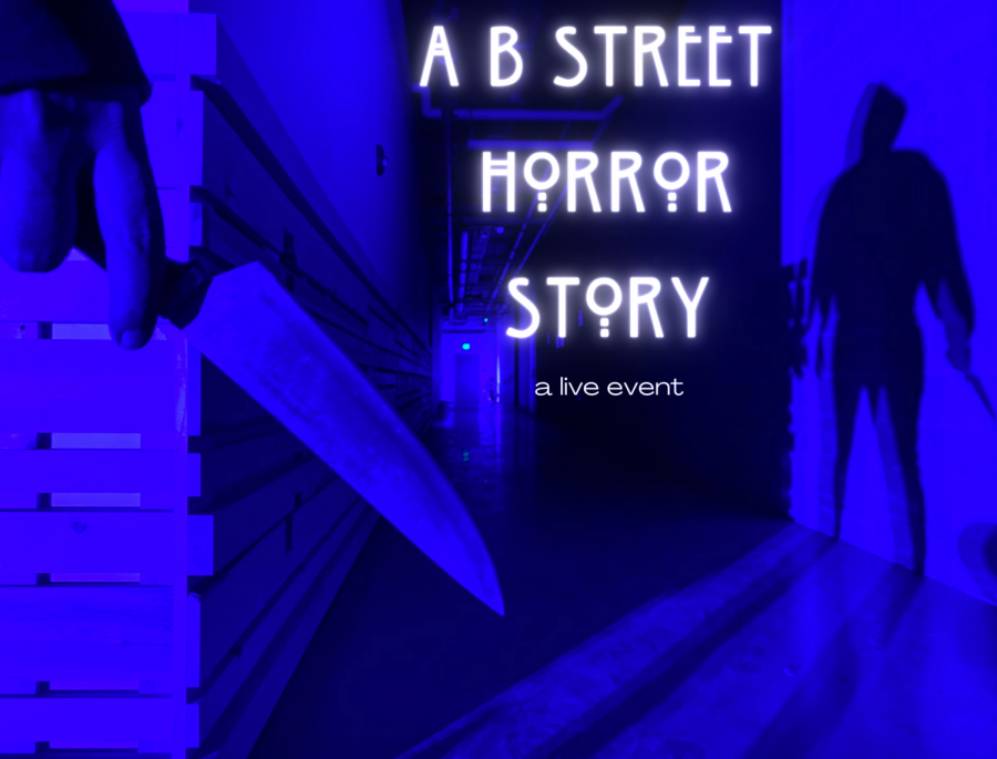 B+Street+Theatre+will+spend+Hallow%27s+Eve+hosting+the+production+of+%22A+B+Street+Horror+Story%22+at+7+p.m.+Friday%2C+Oct.+30%2C+2020.+The+live%2C+interactive+event+will+feature+Peter+Story+and+Dana+Brooke.+Photo+courtesy+of+B+Street+Theater%2C+photo+illustration+by+Chanelle+Muerong.