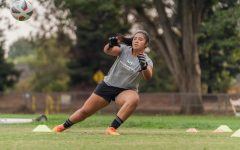 Aaliyah Fesili, goalkeeper for Sac State's women's soccer team, warms up with head coach Randy Dedini at a socially distanced practice on Thursday Oct 8th, 2020. Fesili earned Goalie Of The Year in the Big Sky Conference last season.