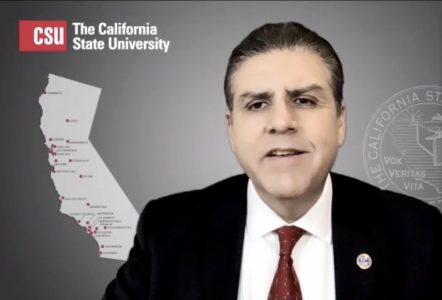 Incoming CSU chancellor and Fresno State president Joseph Castro discusses his plans for campuses on Wednesday, Sept. 30, 2020 as he prepares to take office on Jan. 4, 2021. Castro addressed the virtual spring semester, funding for police departments and diversity across the 23 campuses. Screenshot by Jenna Cooper via Zoom.