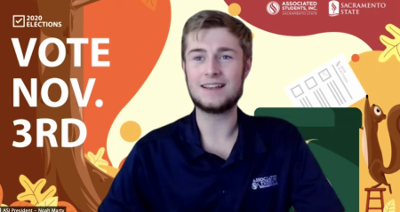 Noah Marty, ASI president, discusses his involvement registering students to vote in the upcoming presidential election during the Board of Directors