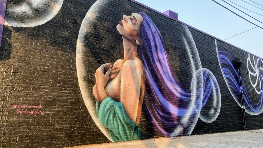 Artist Diana Ormanzhi's mural can be seen on Governers Alley and 12th Street. The mural visualizes Kolas' slogan,