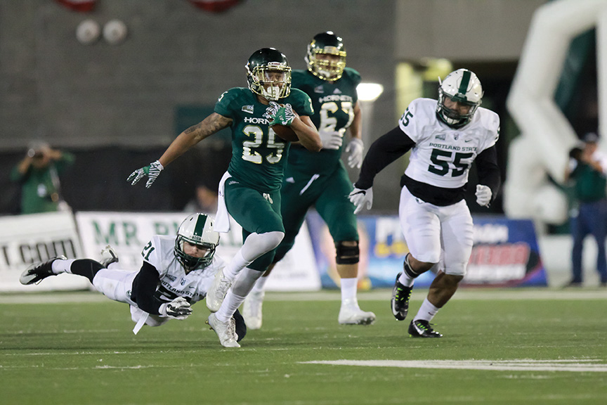 Sacramento State senior runningback Jordan Robinson breaks Ryan Wood's tackle of Portland State at Hornet Stadium on Saturday, Nov. 12, 2016. Robinson had 144 yards and a touchdown in the Hornets victory over North Dakota in 2013.